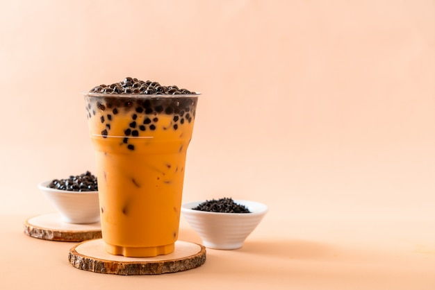 Thai milk tea with bubbles