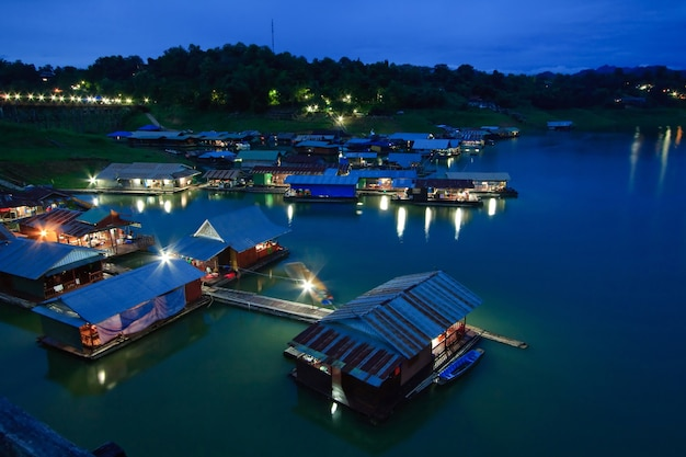 Thai mon floating village on the river