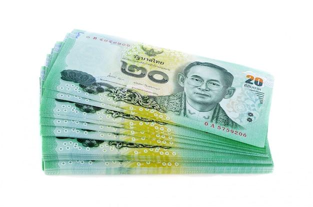 Thai money 20 baht isolated on white , thai bank note background