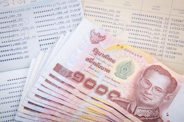 Thai money on two saving account passbook