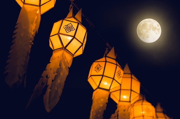 Thai northern lantern of loy krathong festival in thailand hanging and decoration city with yi peng at night thailand travel season