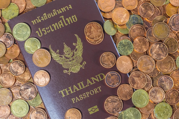 Thai passport on a pile of coins