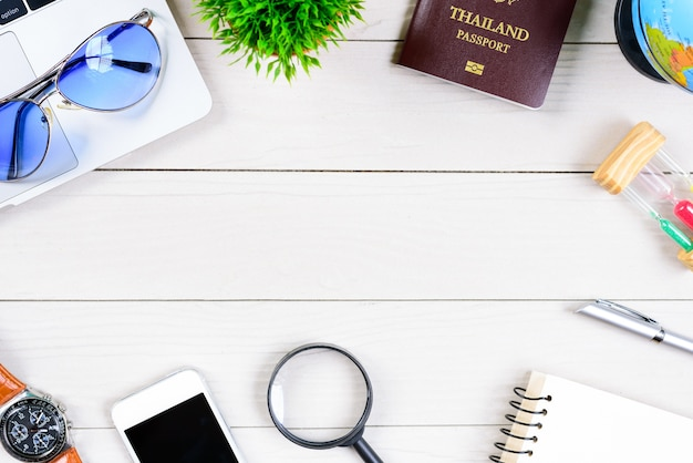 The thai people worker and employee desk has trip dreaming