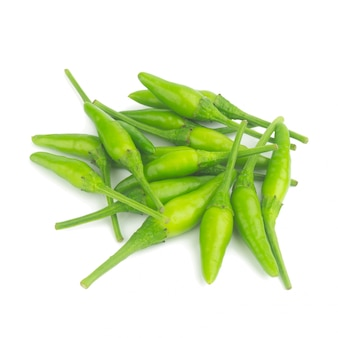 Thai pepper green isolated on white background