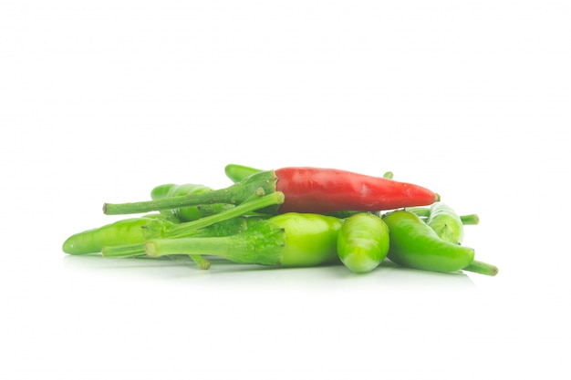 Thai pepper green and one isolated on white background