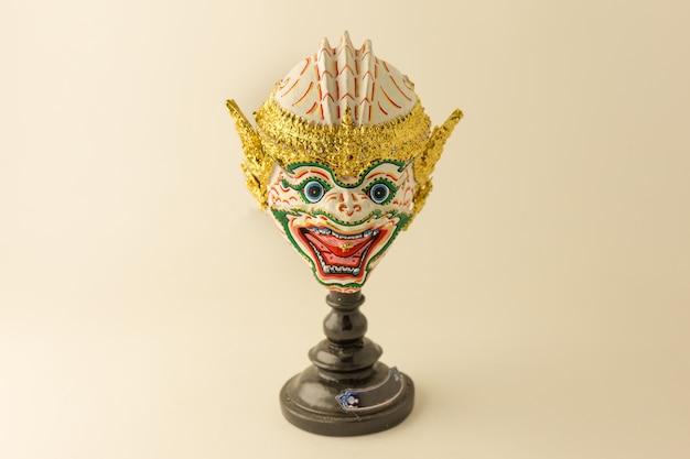 Thai ramayana mask figurine in warm tone