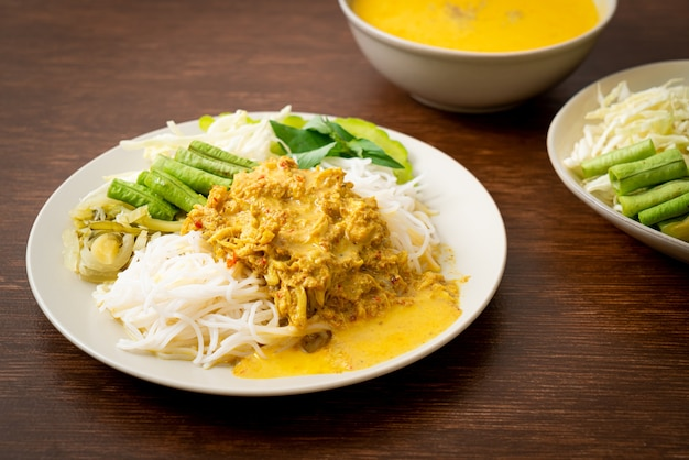 Thai rice noodles with crab curry and variety vegetables - thai local southern food