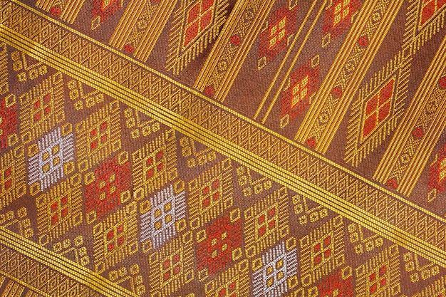 Thai silk handicraft pattern close up, thailand textile style