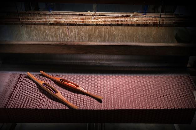 Thai silk. thai traditional weaving loom.