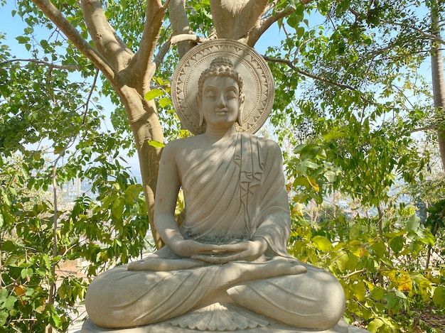 Thai sitting buddha sclupture statue  surrounded by natural green trees forest background on sunny day.