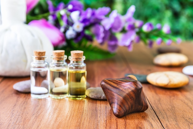 Thai spa massage setting bottle with essential oil