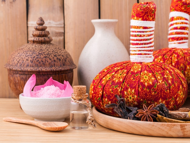 Thai spa theme with bamboo background.