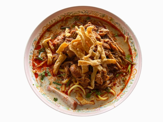 Thai spicy noodle bowl isolated on white background.