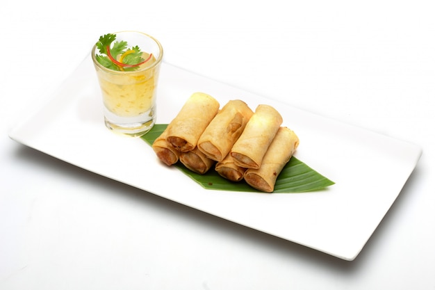 Thai spring roll. food isolated on white background .