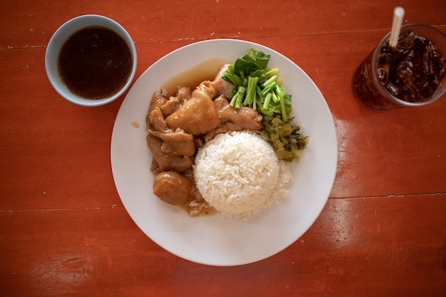 Thai stewed pork leg on rice
