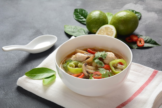 Thai style coconut milk soup-tom kha gai with chicken