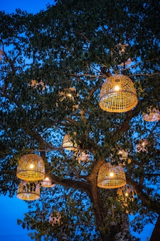 Thai style rustic lamp make with chicken coop.