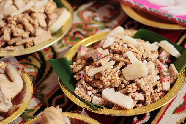 Thai sweet cereal bar made of rice