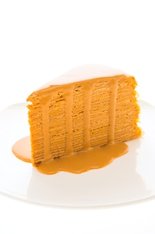 Thai tea cake in white plate