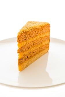 Thai tea cake in white plate