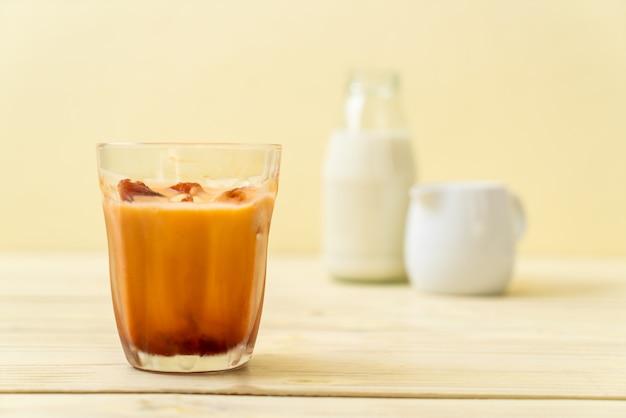 Thai tea ice cube with milk