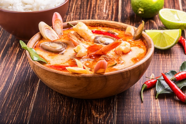 Thai tom yam soup with shrimp and shiitake mushrooms