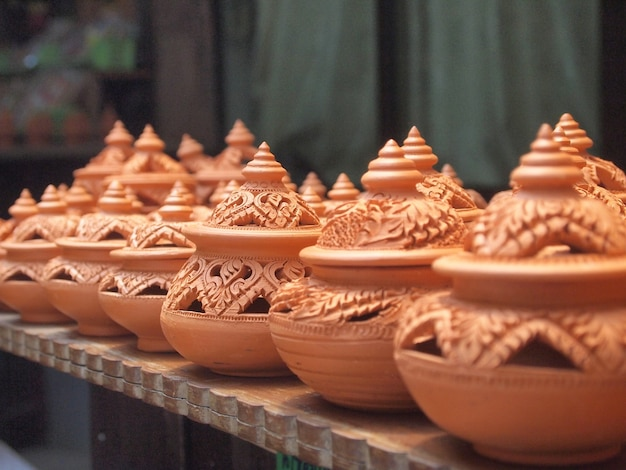 Thai traditional clay pottery in ko kret island