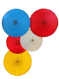 Thai traditional umbrella isolated on white