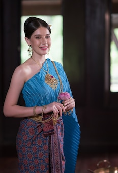 Thai women wearing traditional costumes in ancient times during the ayutthaya period