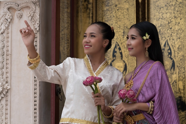 Thai women wearing traditional heritage costumes in ayutthaya period