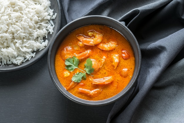 Thai yellow curry with seafood and white rice