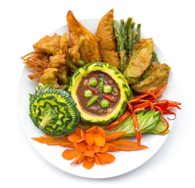 Thaifood shrimp paste chili spicy with fresh and fried vagetable thai cuisine,thaispicy healthy food or dietfood top view isolated