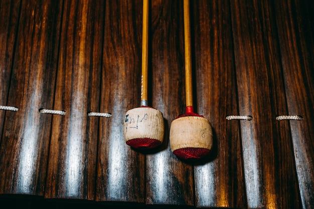 タイの古典的な楽器。木琴のクローズアップ