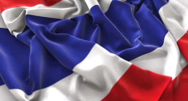 Thailand flag ruffled beautifully waving macro close-up shot
