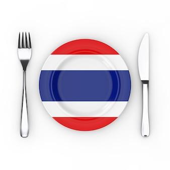 タイ料理または料理のコンセプト。フォーク、ナイフ、白い背景にタイ国旗のプレート。 3dレンダリング