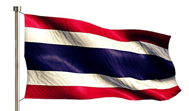 Bandiera nazionale thailandia isolato 3d sfondo bianco