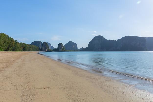 Thailand sea beach sand sun daylight mountain landscape for design postcard and calendar background.