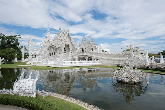Thailand temple famous place in chiangrai wat rong khun is the most important temple of chiang rai, thailand