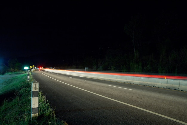Thailand upcountry traffic in city at night