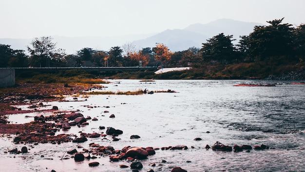 早朝に川岸に沿って緑の木々とthailandaのnakornnayokスモールタウンの橋