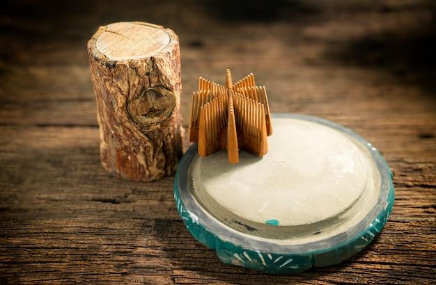タナカ材とチャウピンのスラブ。田中は、田中の木の樹皮から作られたビルマの伝統化粧品です。