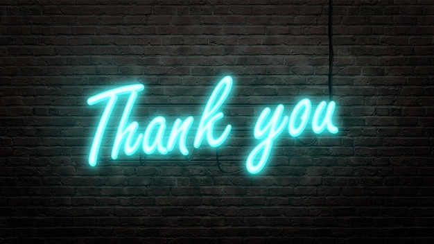 Thank you  neon sign emblem in neon style on brick wall background