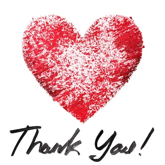 Thank you. red stenciled heart and lettering on the white background