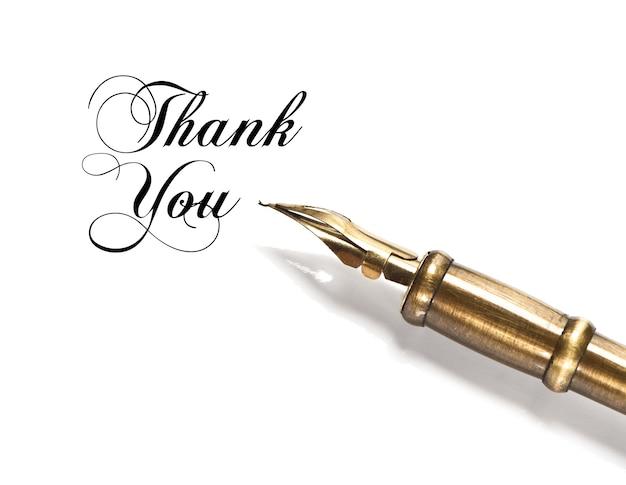 감사 해요. 흰색 배경에 고립 된 빈티지 잉크 펜