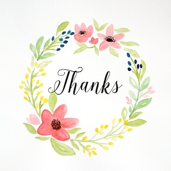 Thanks Word And Hand Drawing Watercolor Flower Wreath On White Paper