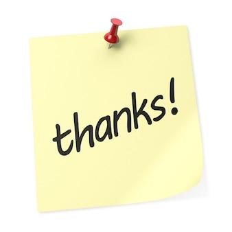 빨간색 푸시 핀이 있는 노란색 스티커 메모에 감사드립니다. 3d 렌더링.