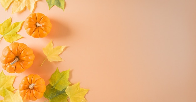 Thanksgiving background decoration from dry leaves and pumpkin on  pastel orange background