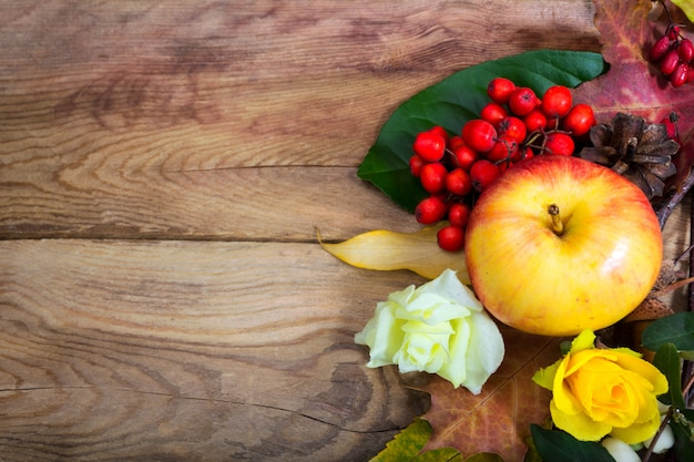 Thanksgiving background with apple and yellow roses,