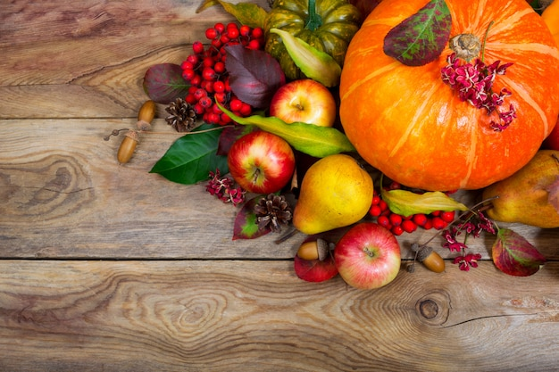 Thanksgiving background with pumpkin, apples, pear table centerpiece, .
