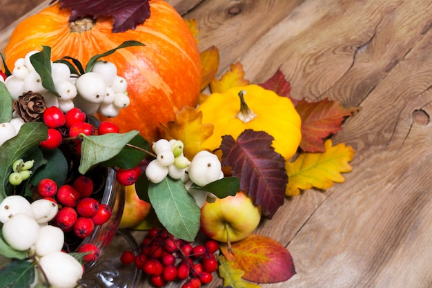 Thanksgiving background with snowberry, pumpkin, apples and yellow squash